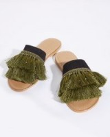 JIGSAW MINZE FRINGE SLIDERS KHAKI / green tasseled flats