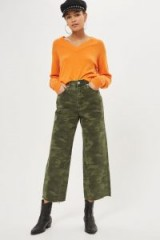 MOTO Khaki Camo Cropped Wide Leg Jeans / camouflage print denim
