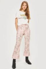 MOTO Pink Jacquard Crop Kick Flare Jeans | floral denim