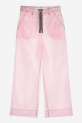 MOTO Pink Transparent Cropped Jeans   sheer trousers