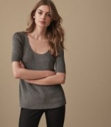 REISS NALA METALLIC KNITTED T-SHIRT SILVER / scooped neck fine knit tee