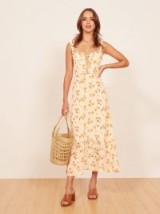 REFORMATION Naples Dress Limonada / yellow floral print ruffle trim dresses