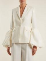 ROKSANDA Narika ivory puff-sleeved crepe blazer ~ statement jackets