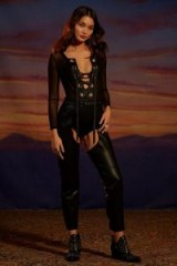 Nasty Gal Studio Gwen Vegan Leather Chaps   black cut away trousers   festival pants