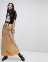 Native Rose Maxi Skirt In Sequin in Burnt Gold | long metallic skirts