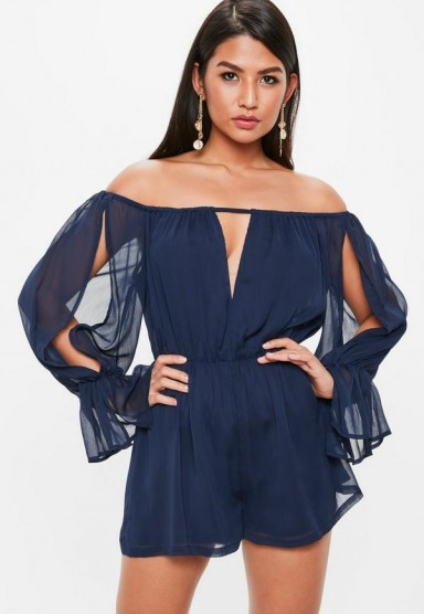 Missguided navy bardot long sleeve plunge playsuit ~ blue off the shoulder playsuits