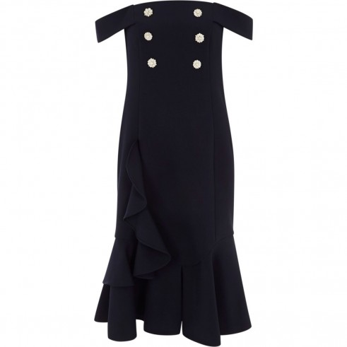 RIVER ISLAND Navy pearl embellished bardot bodycon dress ~ off the shoulder dresses