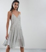 REISS NICOLE POLKA DOT SUMMER DRESS WHITE / double strap fit and flare dresses