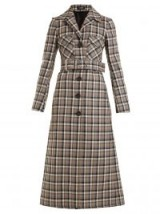 KWAIDAN EDITIONS Notch-lapel checked wool coat / belted check print coats