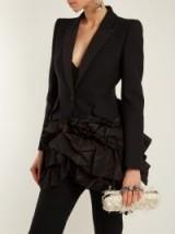 ALEXANDER MCQUEEN Notch-lapel single-breasted ruffle jacket ~ black ruffled jackets