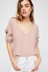 Free People Now Or Never Cashmere V-Neck Jumper in Pink Mist | soft V-neck jumpers