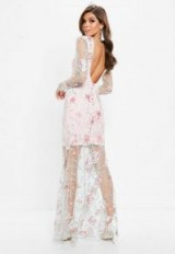 Missguided nude embroidered lace long sleeve maxi dress – long semi sheer scoop back dresses
