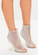Missguided nude peep toe fishnet ankle boots – clear heeled booties