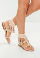 MISSGUIDED nude tassel buckle flat sandals ~ summer flats