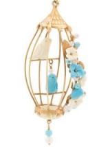 OF RARE ORIGIN bird floral appliqué earrings ~ beautiful bird cage earrings ~ statement jewellery