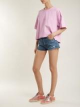 RE/DONE ORIGINALS Originals mid-rise denim shorts ~ blue distressed shorts