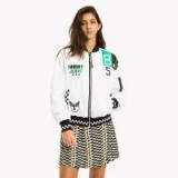 TOMMY JEANS OVERSIZED RACING BOMBER JACKET in BRIGHT WHITE | logo printed jackets