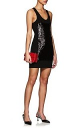 PACO RABANNE Sequined Rib-Knit Minidress ~ sparkly black racerback mini dresses