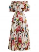 DOLCE & GABBANA Padlock and garden-print off-shoulder dress ~ feminine vacation dresses ~ bardot