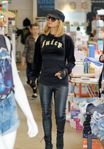 Paris Hilton out shopping in Beverly Hills wearing a Juicy Couture velour logo print top and black leather leggings – celebrity outfits