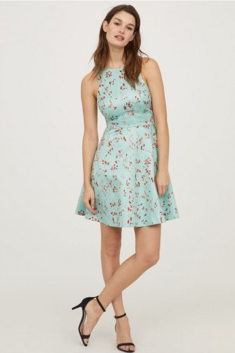 H&M Patterned satin dress / turquoise floral fit and flare - flipped
