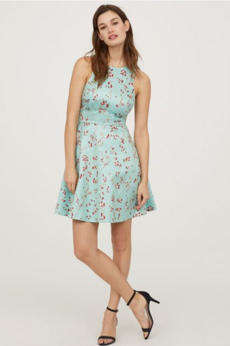 H&M Patterned satin dress / turquoise floral fit and flare