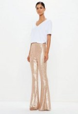 peace + love gold matte sequin flared trousers | metallic flares