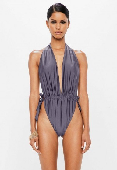 peace + love grey deep plunge low back swimsuit – poolside glamour - flipped