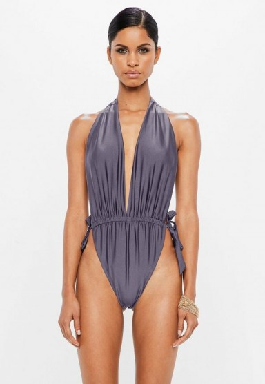 peace + love grey deep plunge low back swimsuit – poolside glamour