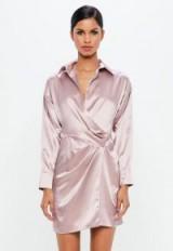 peace + love mauve satin wrap mini dress – lilac dresses