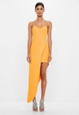 MISSGUIDED peace + love yellow asymmetric hem wrap dress ~ cami strap going out dresses