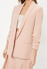 Missguided peach ruched sleeve blazer – gathered sleeved jackets