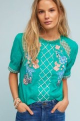 Maeve Perennial Blouse | vintage style floral embroidered tops