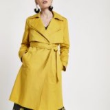 RIVER ISLAND Petite mustard yellow belted trench coat ~ tie waist wrap coats
