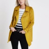 RIVER ISLAND Petite mustard yellow faux suede trench coat