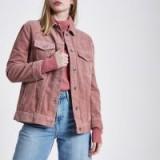 RIVER ISLAND Pink cord trucker jacket ~ corduroy jackets