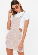 Missguided pink metallic textured pinafore dress – fringed pinafores