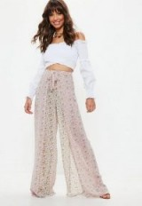MISSGUIDED pink paisley print tie waist trousers ~ sheer summer trousers