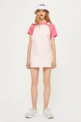 Topshop Pinstripe Pinafore Dress | casual summer style | pink pinafores