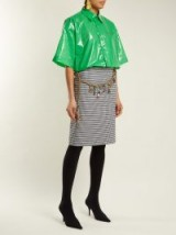 BALENCIAGA Plastic-Bin shirt / shiny green shirts / logo prints