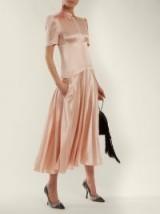 HILLIER BARTLEY Plimpton short-sleeve light-pink silk dress ~ chic vintage style dresses