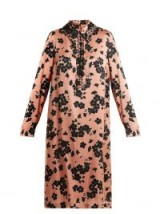 ROCHAS Point-collar floral-print silk dress ~ luxe pink and black shirt dresses