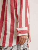 MARQUES'ALMEIDA Point-collar striped linen and cotton-blend shirt ~ silver metal push-lock ring cufflinks ~ little details