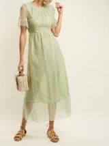 LUISA BECCARIA Polka dot tulle dress ~ delicate-green semi sheer vintage style dresses ~ feminine and romantic
