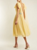 LUISA BECCARIA Polka-dot jacquard pleated gown ~ pale-yellow open back summer event dresses