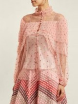 LUISA BECCARIA Polka-dot tulle blouse ~ pink semi sheer romantic blouses ~ feminine event wear