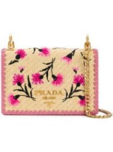 PRADA floral-embroidered crossbody bag – pink leather and braided straw flap bags