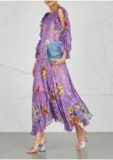 PREEN BY THORNTON BREGAZZI Ermin floral-devoré silk-blend dress ~ purple split sleeve dresses