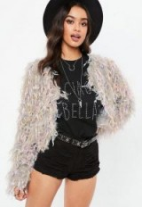 MISSGUIDED premium grey multi shaggy cardigan ~ fluffy knitted jackets