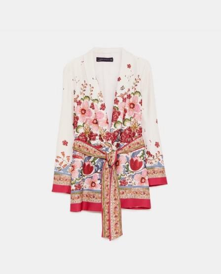 ZARA PRINTED BLAZER WITH BELT / floral print jackets